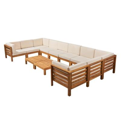 Oana Teak Brown 12-Piece Wood Patio Conversation Sectional Seating Set with Beige Cushions