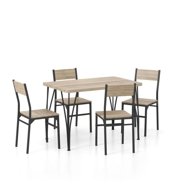 5-Piece Dans Natural Tone and Bronze Dining Table Set