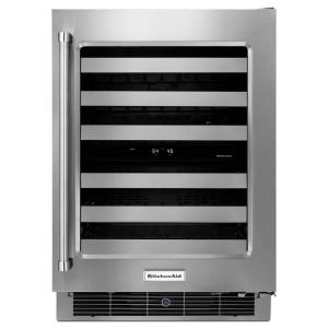 Click here to buy KitchenAid 24 inch W 46-Bottle Dual Zone Wine Cellar by KitchenAid.