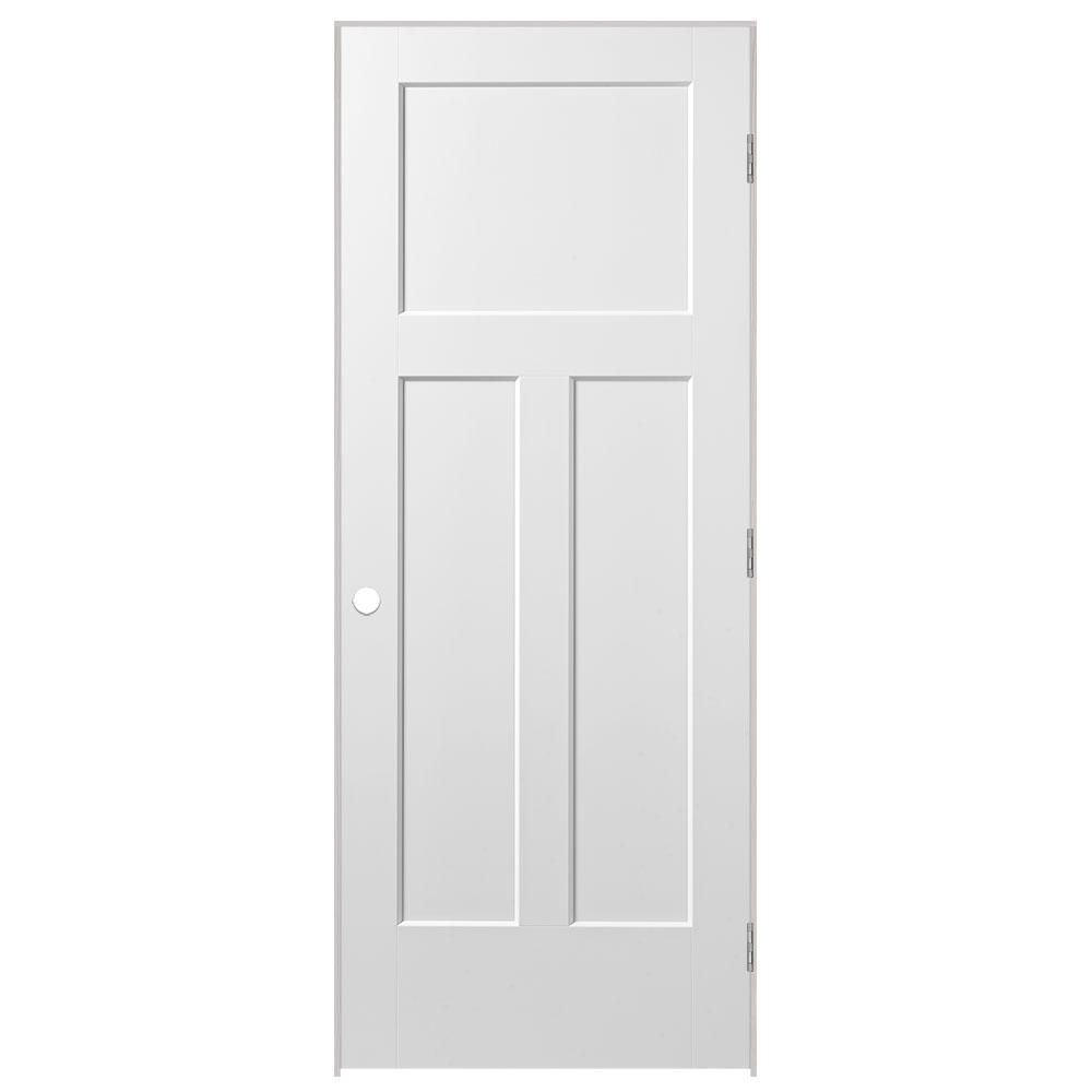 Masonite 32 in. x 80 in. Winslow 3-Panel Right-Handed Hollow-Core Primed Composite Single Prehung Interior Door