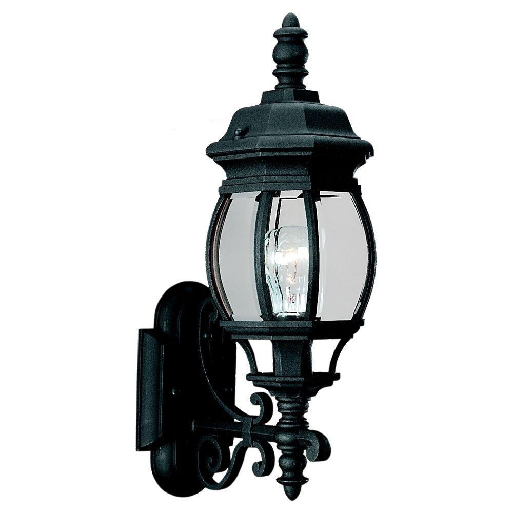 Sea Gull Lighting Wynfield 19 75 In H 1 Light Black Outdoor Wall Lantern Sconce With Clear Beveled Gl