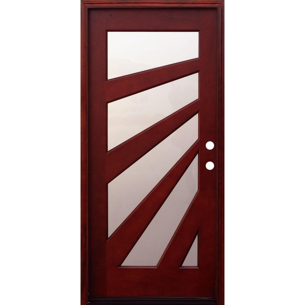 Pacific Entries 36 In X 80 In Contemporary 5 Lite Fan Stained Mahogany Wood Prehung Front Door