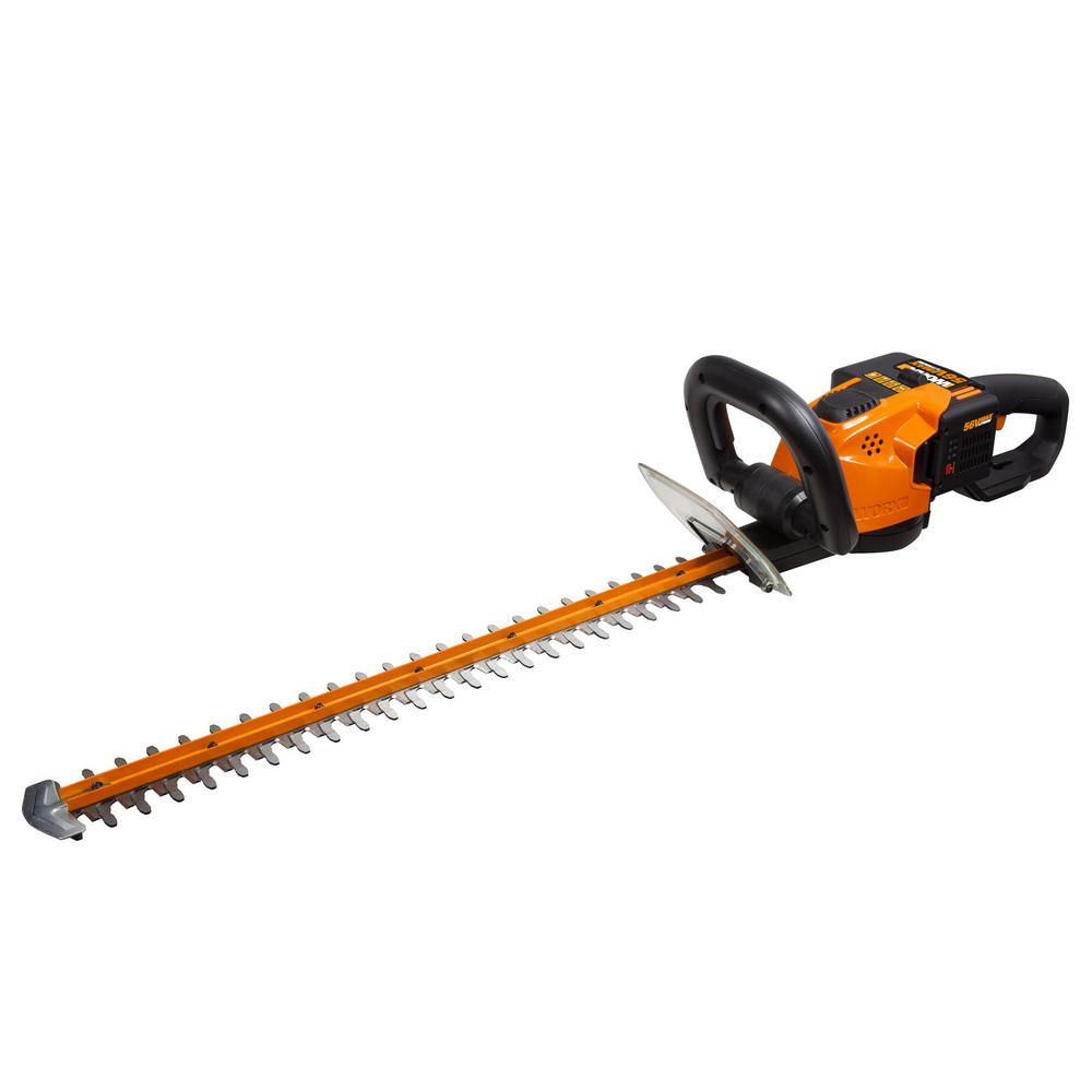 WORX 24 in. 56-Volt Li-ion Cordless Hedge Trimmer 3/4 Cut...