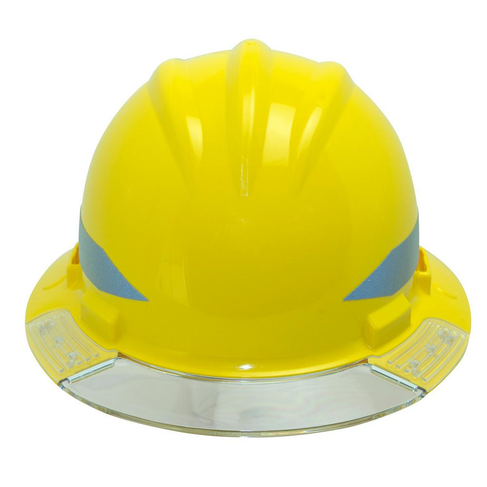 Yellow Full Brim Above View Hard Hat with Clear Brim Visor
