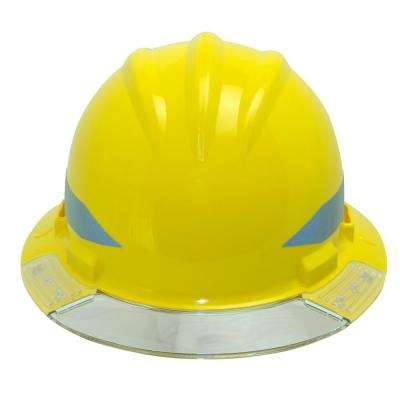 Yellow Full Brim Above View Hard Hat with Clear Brim Visor 4-Point Ratchet Suspension System and Cotton Brow Pad