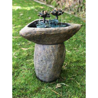 Alpine Corporation Outdoor Pedestal Waterfall Lotus Rock Fountain with LED Lights