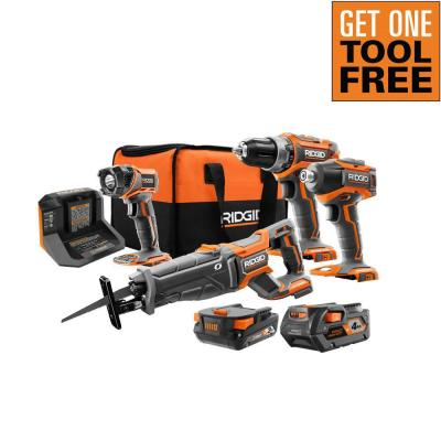 Ridgid Brushless Cordless 4-Tool Combo Kit + FREE Tool (up to $219 value)