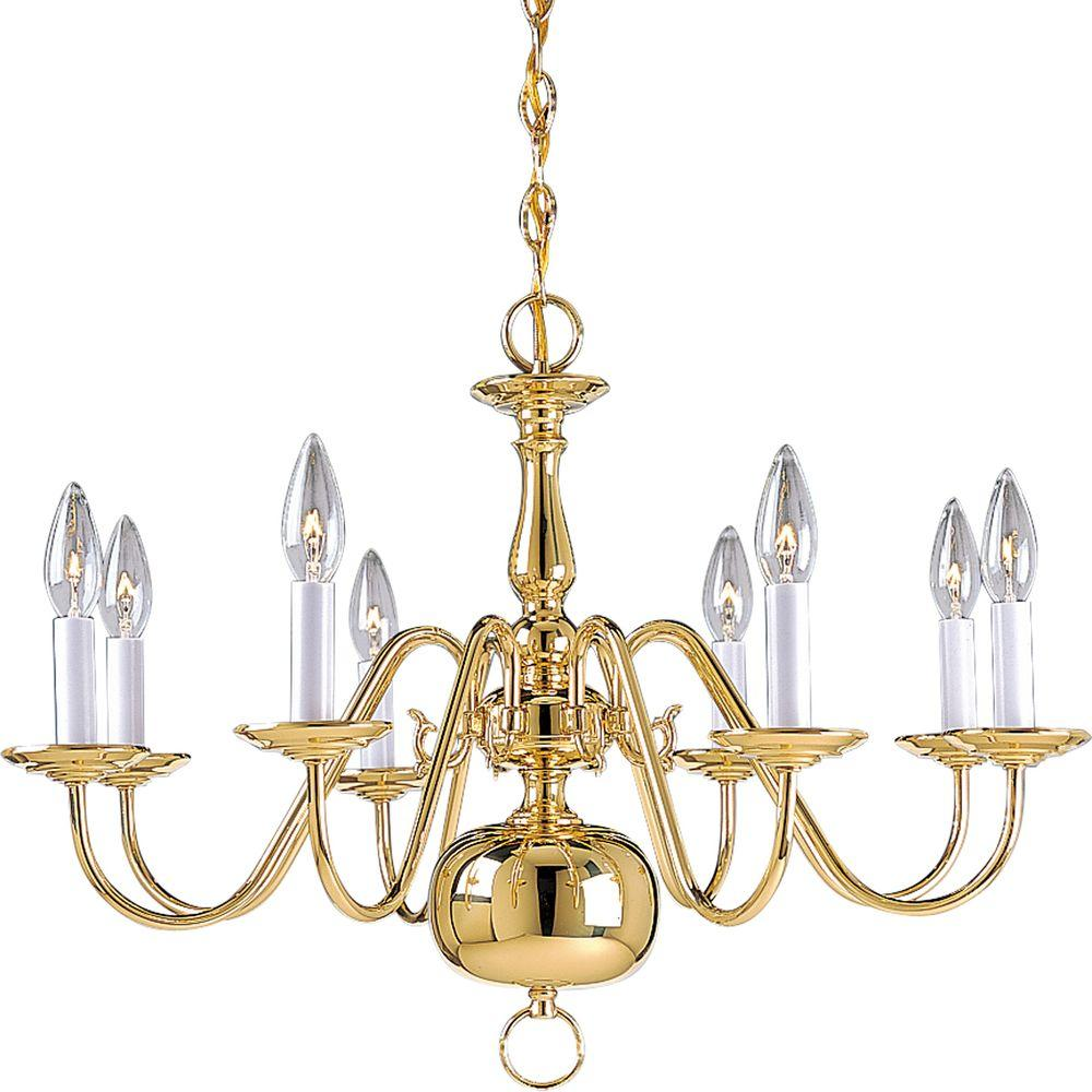 Progress lighting americana collection 8 light polished brass progress lighting americana collection 8 light polished brass chandelier aloadofball