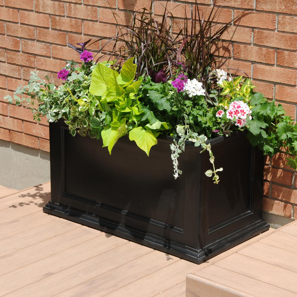 inch stands en categories lawn in outdoors planters garden the black rectangle planter rope p and home plant canada depot centre