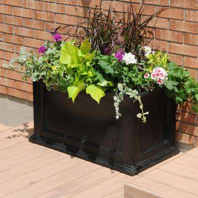 Fairfield 36 in. x 20 in. Black Plastic Planter