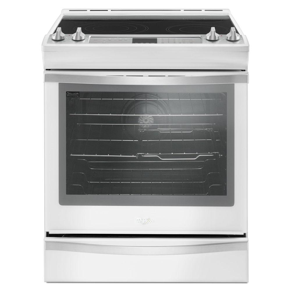 Whirlpool 6 4 Cu Ft Slide In Electric Range With True Convection White