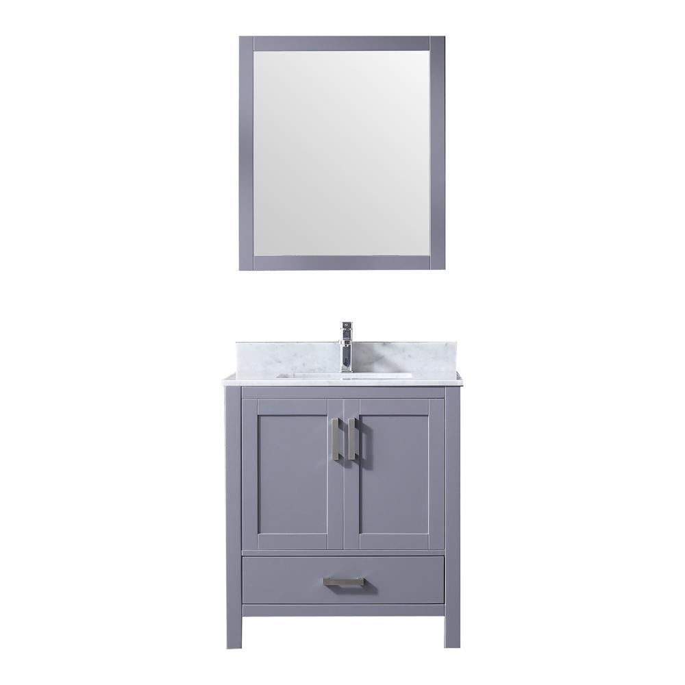 Lexora Jacques 30 in. Single Bath Vanity in Dark Grey w/ White Carrera Marble Top w/ White Square Sink and 28 in. Mirror