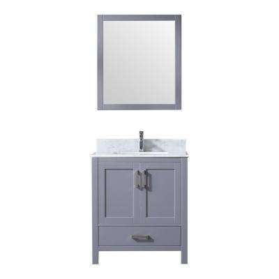 Jacques 30 in. Single Bath Vanity in Dark Grey w/ White Carrera Marble Top w/ White Square Sink and 28 in. Mirror