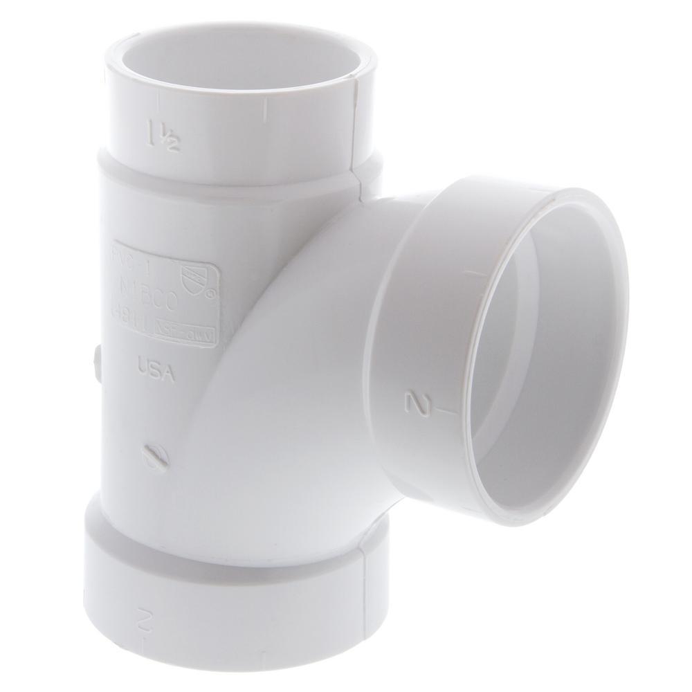 2 in. x 1-1/2 in. x 2 in. PVC All Hub Sanitary Reducing Tee