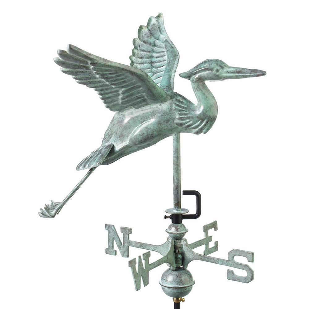 Blue Heron Cottage Weathervane - Blue Verde Copper with Roof Mount