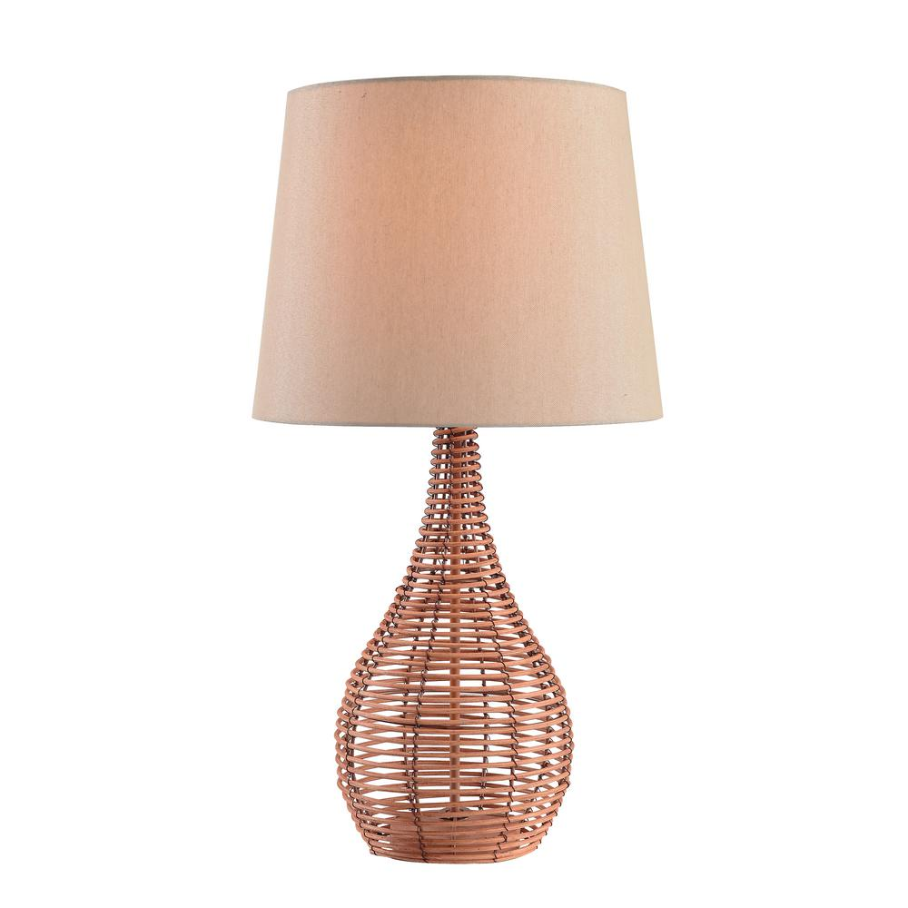 Kenroy home hughes 27 in rattan table lamp with tan shade 32636lrat rattan table lamp with tan shade aloadofball Choice Image