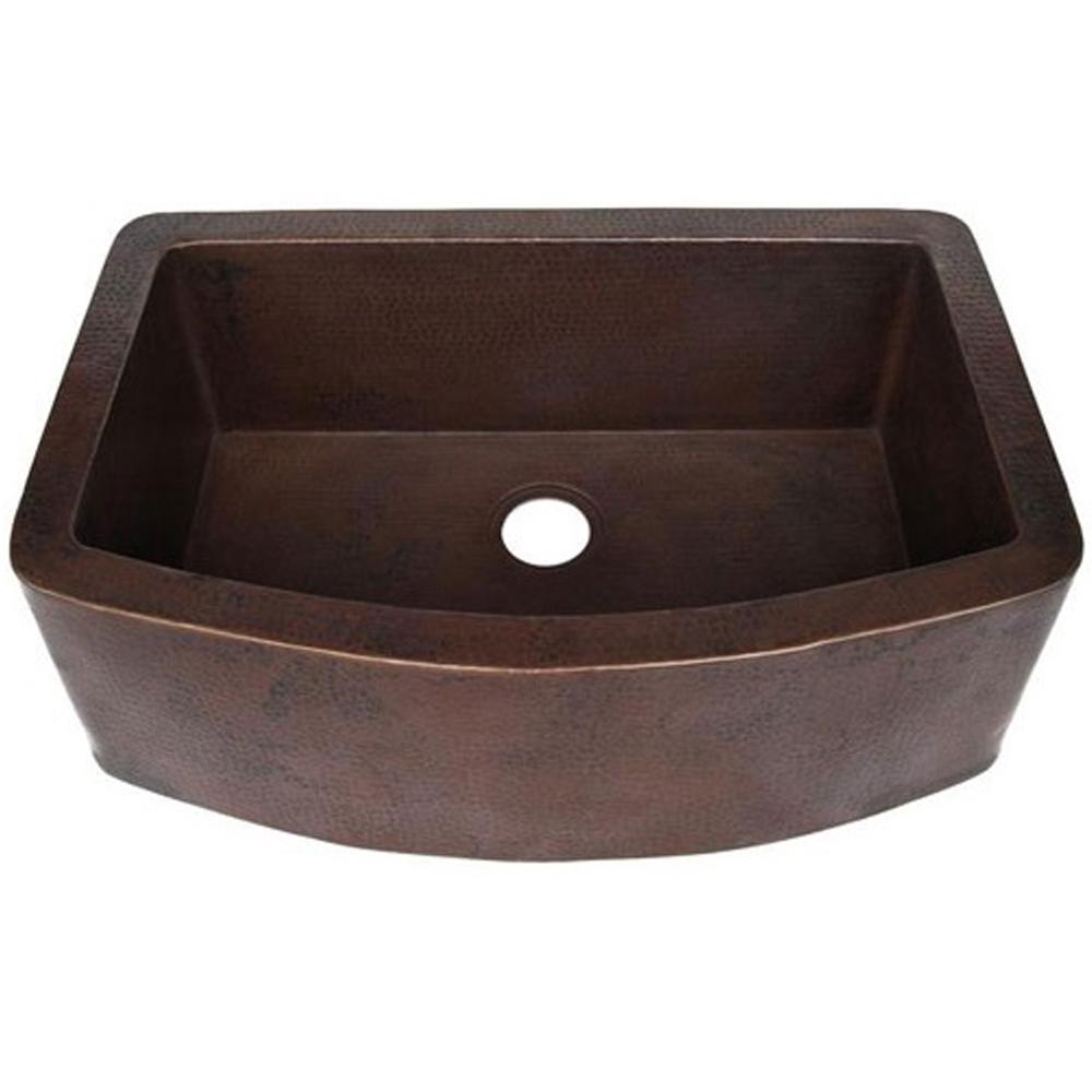 Novatto Redondeado Farmhouse Apron Front Copper 33 in. Single Bowl Kitchen Sink in Antique