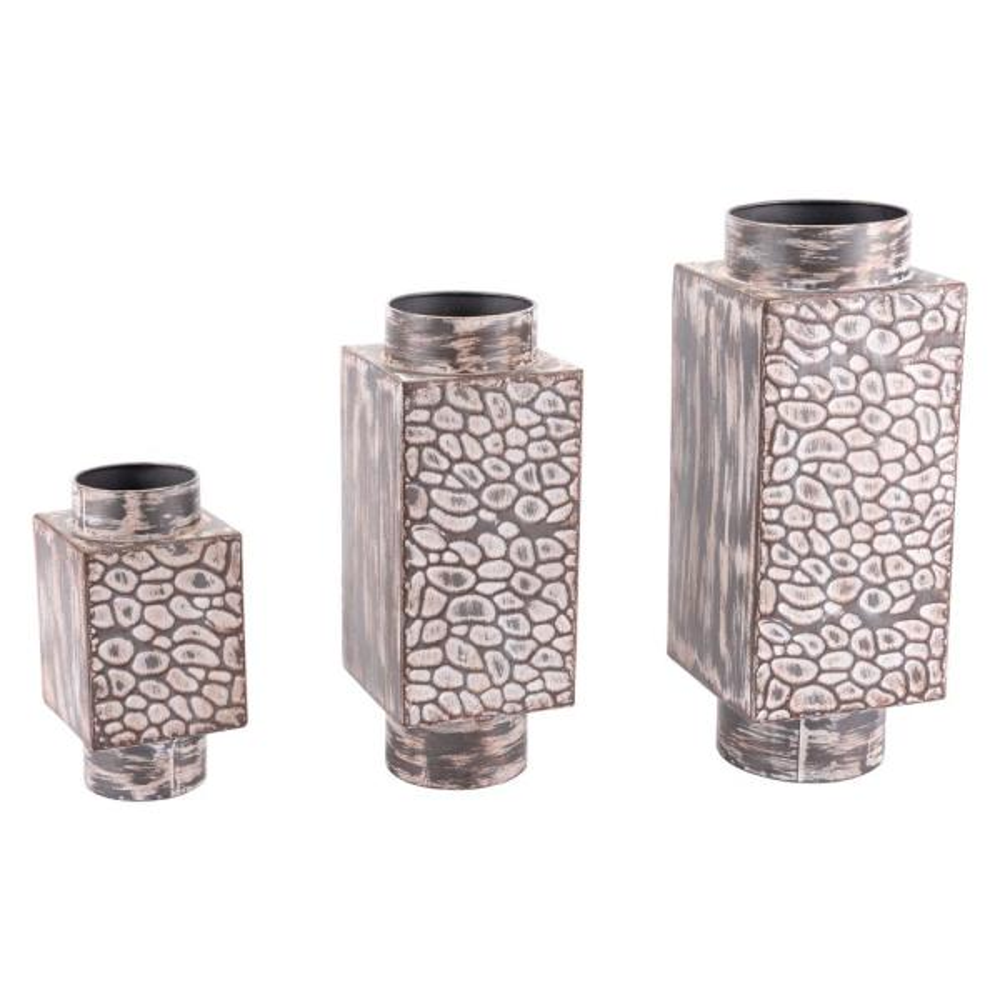 Antique Metal Decorative Vases (Set of 3)