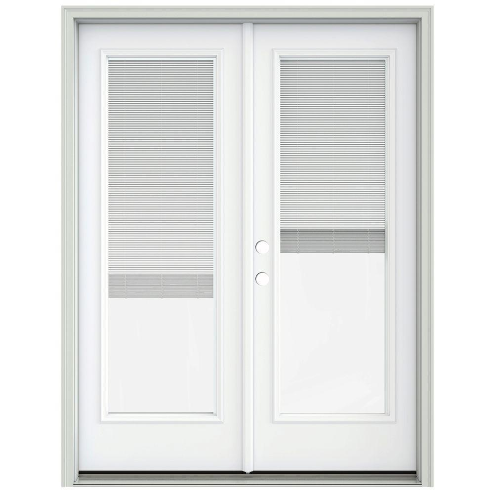Jeld wen 60 in x 80 in brilliant white prehung right for Home depot prehung french doors
