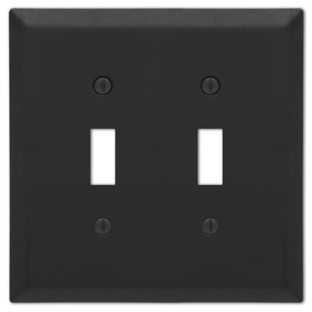 Metallic 2 Gang Toggle Steel Wall Plate - Black