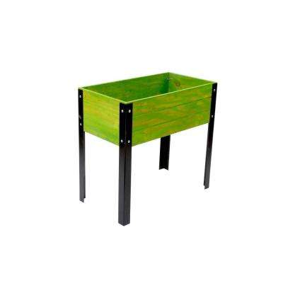 KD Elevated Wood Planter in Green