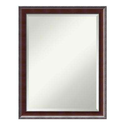 Country Walnut Wood 21 in. x 27 in. Traditional Bathroom Vanity Mirror