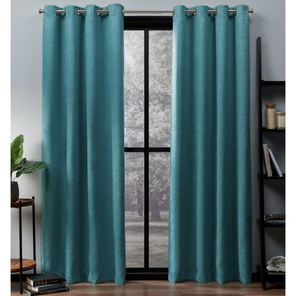 Oxford Teal Textured Sateen Thermal Grommet Top Window Curtain