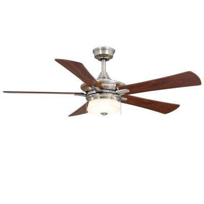 Winthrop 52 in. Indoor Brushed Nickel Ceiling Fan with Light Kit