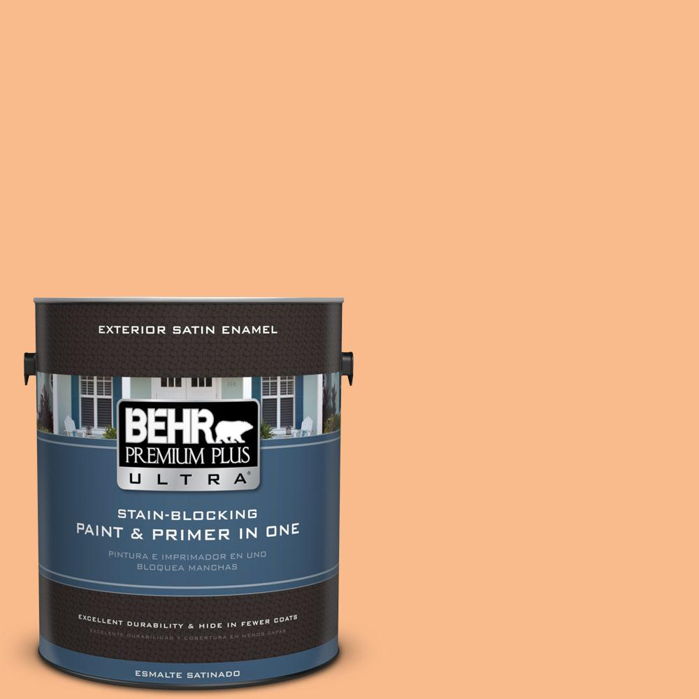 BEHR Premium Plus Ultra 1-gal. #260C-3 Fresh Peaches Satin Enamel Exterior Paint