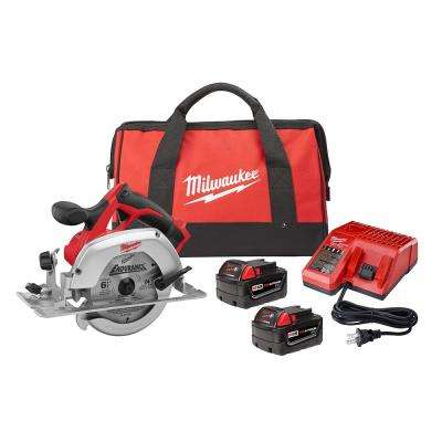 M18 18-Volt Lithium-Ion Cordless  6-1/2 in. Circular Saw Kit w/ (2) 3.0Ah Batteries,24T Saw Blade, Charger, Tool Bag