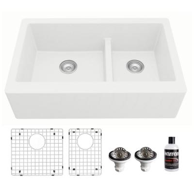 Farmhouse White Apron Front Quartz Composite 34 in. Double Offset Bowl Kitchen Sink kit