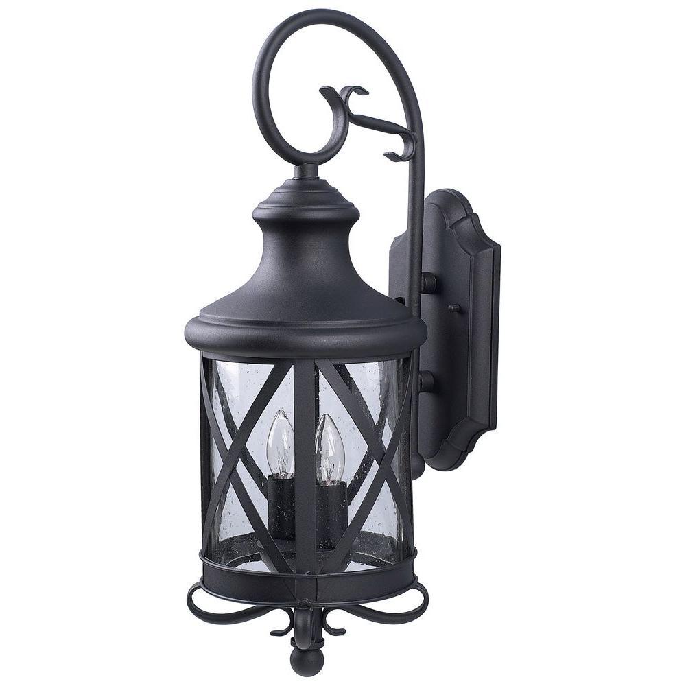 CANARM Mason 2-Light Black Outdoor Wall Lantern with Seeded Glass