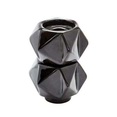 Small Ceramic Black Star Candle Holder (Set of 2)