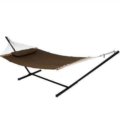 10-3/4 ft. Quilted Double Fabric 2-Person Hammock with Spreader Bars Pillow and Stand in Brown