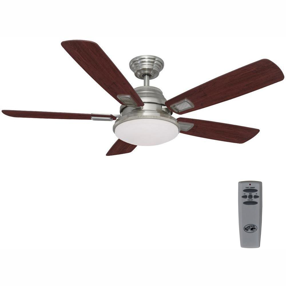 Hampton Bay Latham 52 In Led Indoor Brushed Nickel Ceiling Fan With Light Kit And Remote Control
