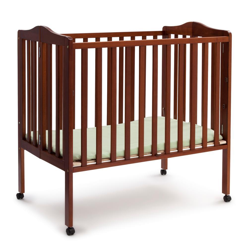 Portable Dark Cherry Folding Crib with Mattress