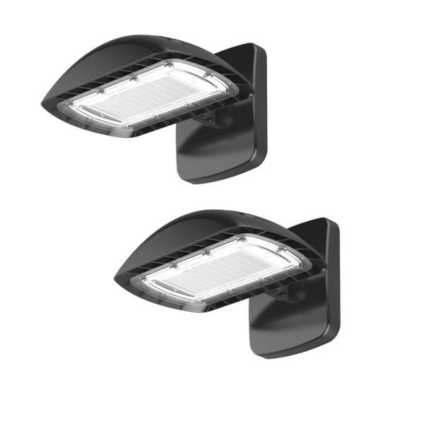 350-Watt Equivalent Integrated LED Flood Light with Wall Pack Mount 5500 Lumens, Dusk to Dawn Outdoor Light (2-Pack)
