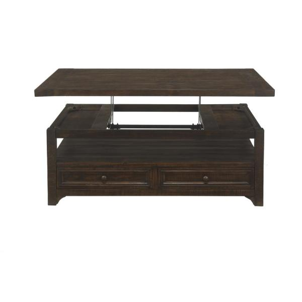 Martin Svensson Home Lisbon 48 In Dark Mocha Large Rectangle Wood Coffee Table With Lift Top 850128 The Home Depot