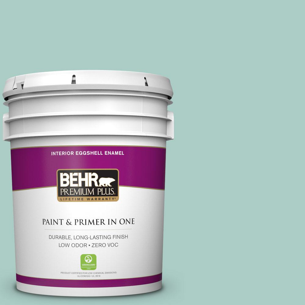 BEHR Premium Plus 5-gal. #M440-3 Baby Aqua Eggshell Enamel Interior Paint