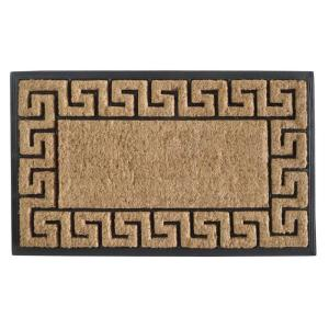 A1HC First Impression Greek Key Border Brush 18 inch x 30 inch Rubber and Coir Door Mat by