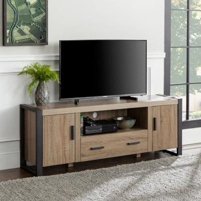 Urban Blend 60 in. Ash Gray MDF TV Stand with 1 Drawer Fits TVs Up to 65 in. with Adjustable Shelves