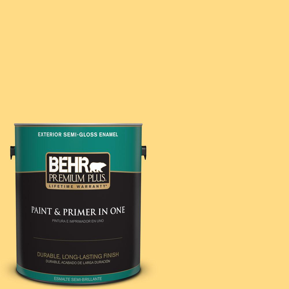 1-gal. #P290-4 Spirited Yellow Semi-Gloss Enamel Exterior Paint