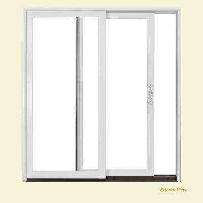 72 in. x 80 in. W-2500 Brilliant White Wood Clad Right-Hand Full Lite Sliding Patio Door w/Unfinished Interior
