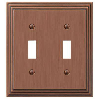 Tiered 2 Toggle Wall Plate - Antique Copper Cast