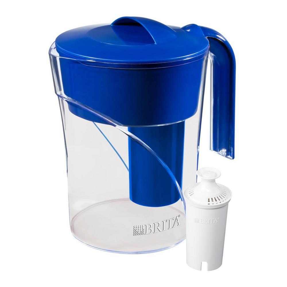 Six 8 oz. Glasses Mist Water Filter Pitcher in Dark Blue, BPA Free