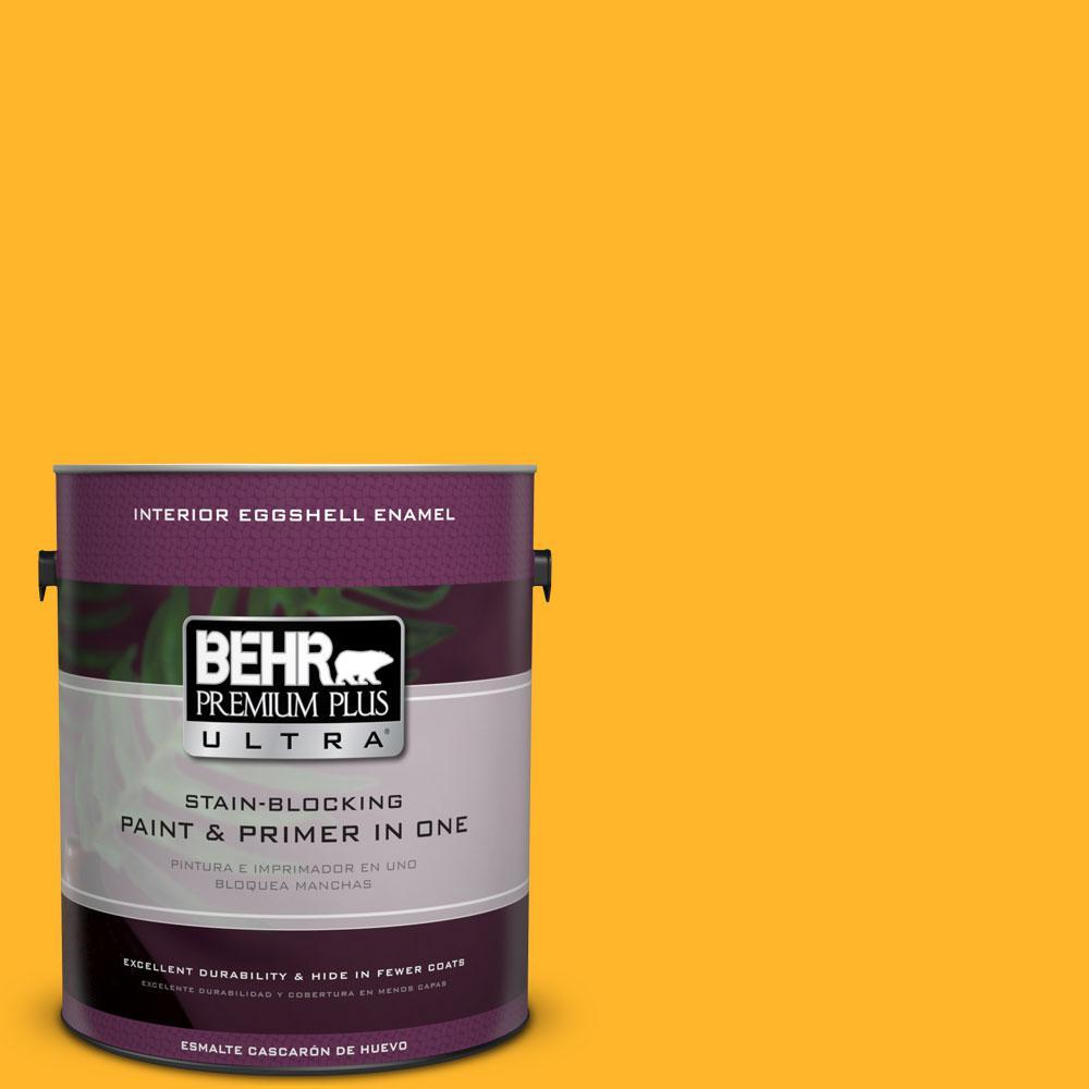 BEHR Premium Plus Ultra 1-gal. #P260-7 Extreme Yellow Eggshell Enamel Interior Paint