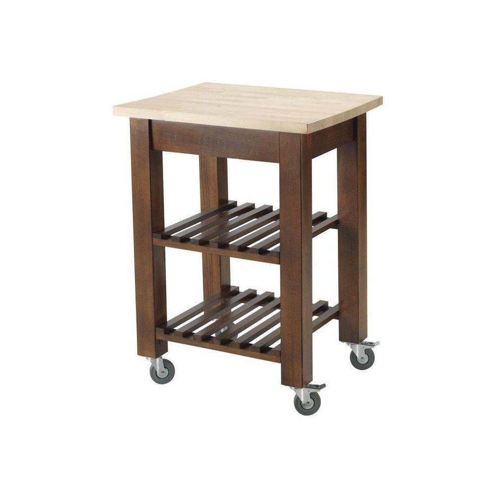 Home Decorators Collection Thomas Chestnut 24 in. W Kitchen Cart with Shelves