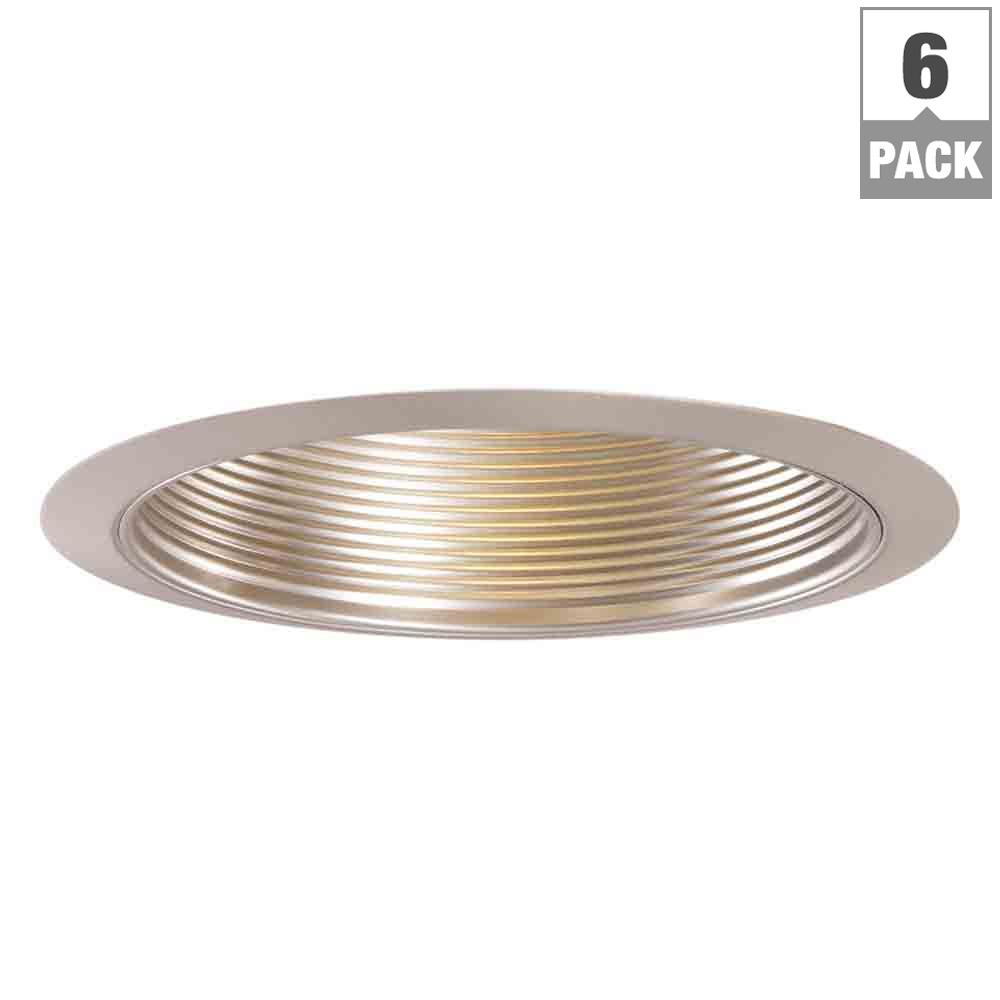 6 in. Satin Nickel Recessed Ceiling Light Metal Baffle Trim (6-Pack)