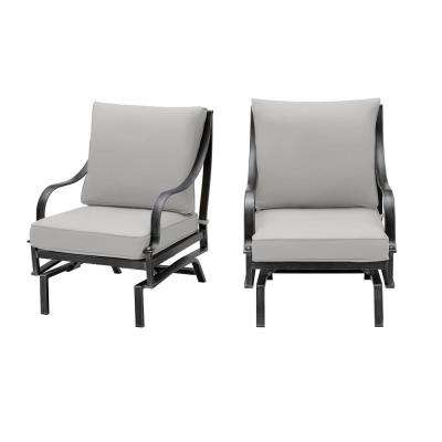 Highland Point Rocking Aluminum Outdoor Lounge Chair with Gray Cushion (2-Pack)