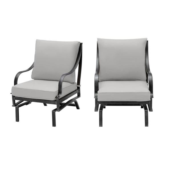 Highland Point Black Pewter Aluminum Outdoor Patio Rocking Lounge Chair with Pewter Gray Cushion (2-Pack)